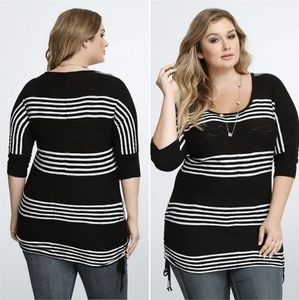 Torrid Striped Black and White Cinch Tunic Top
